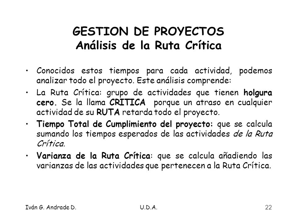 GESTION DE PROYECTOS Análisis de la Ruta Crítica