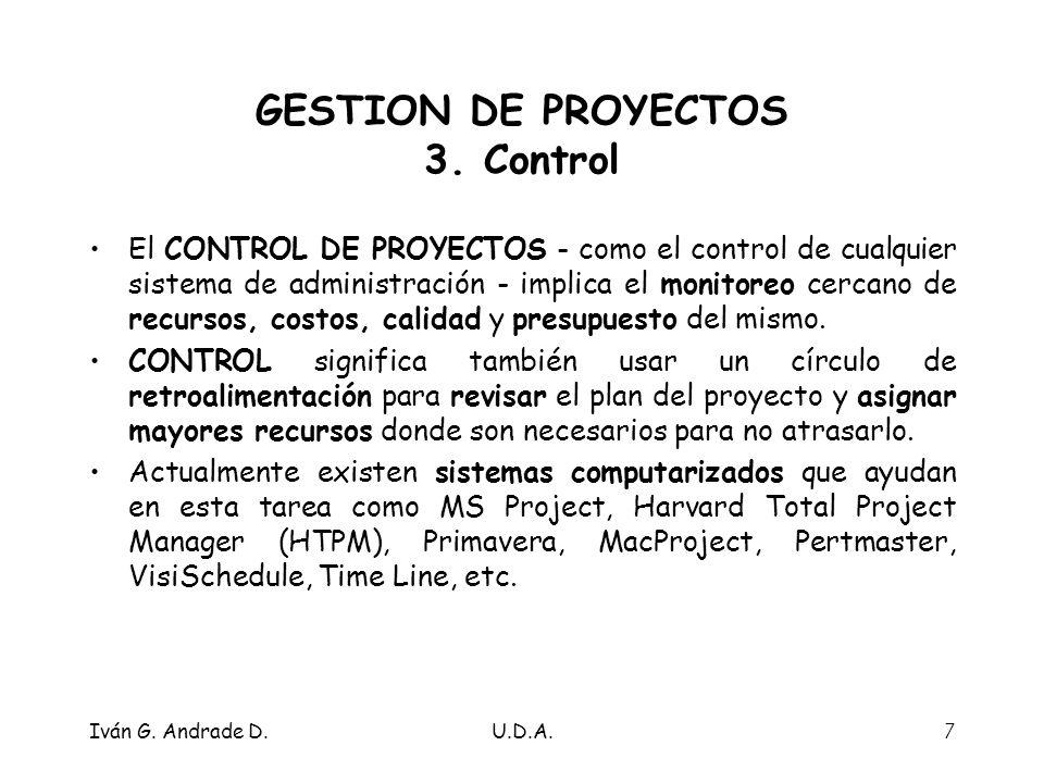 GESTION DE PROYECTOS 3. Control