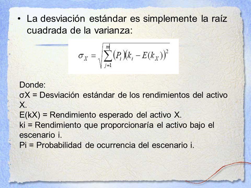 La desviación estándar es simplemente la raíz cuadrada de la varianza: