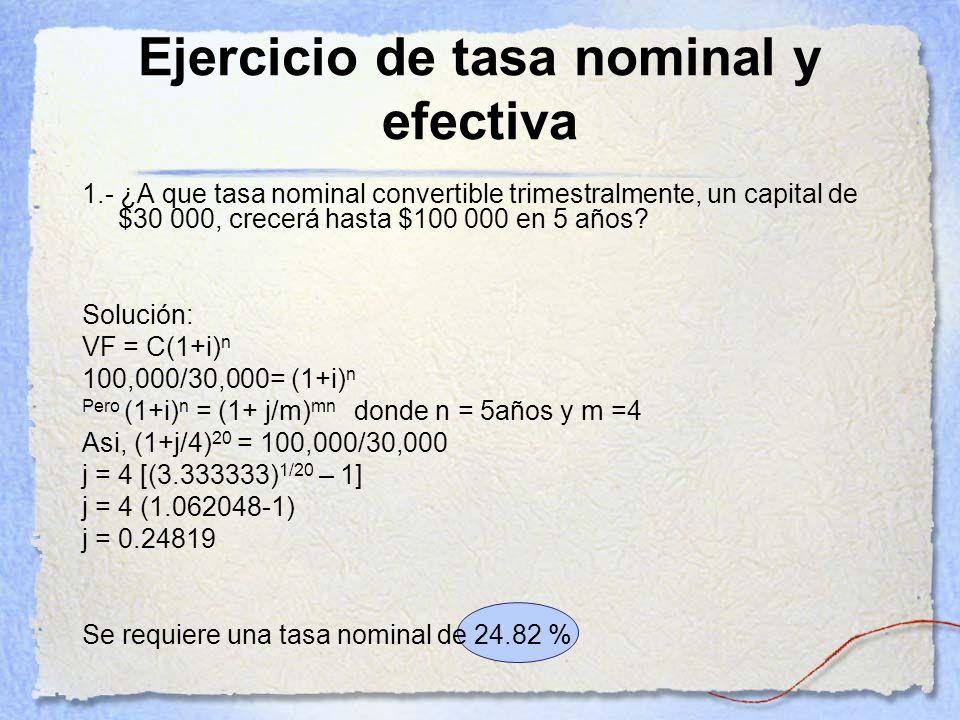 Ejercicio de tasa nominal y efectiva