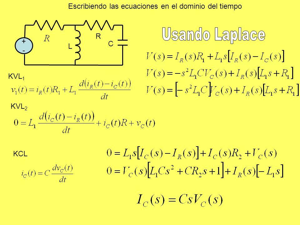 Usando Laplace Escribiendo las ecuaciones en el dominio del tiempo R +