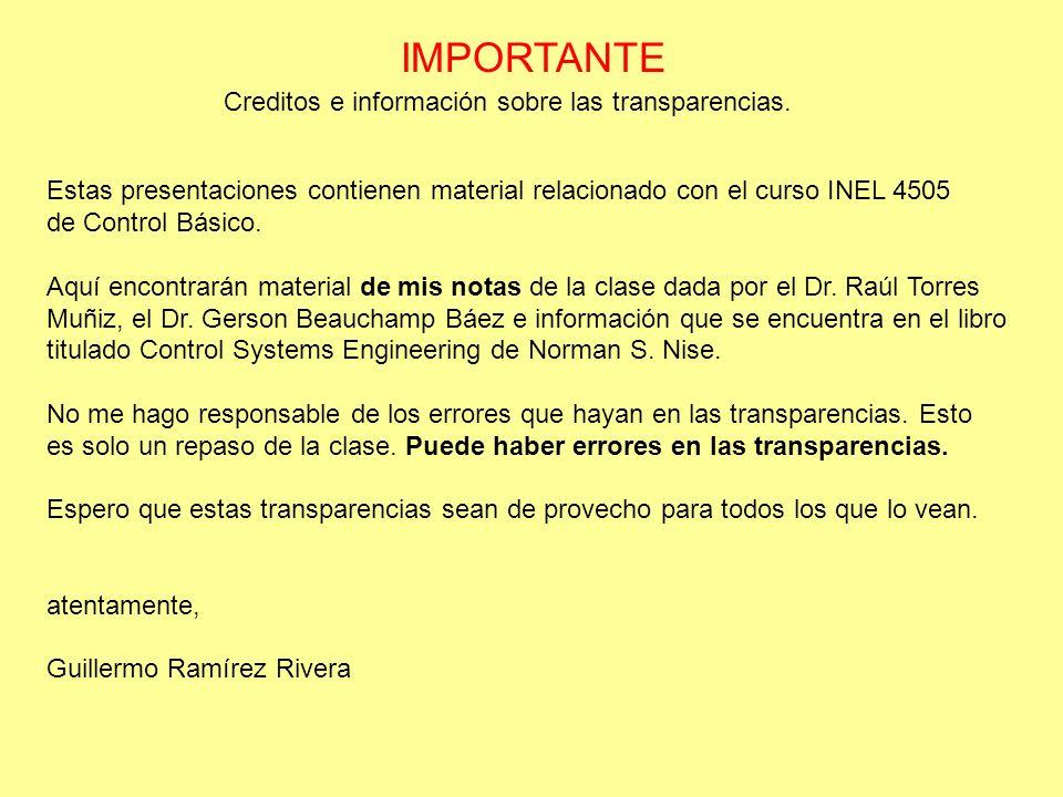 IMPORTANTE Creditos e información sobre las transparencias.