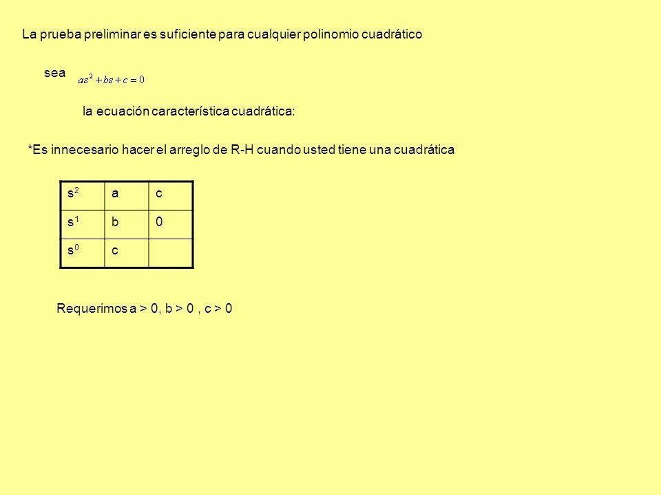 La prueba preliminar es suficiente para cualquier polinomio cuadrático