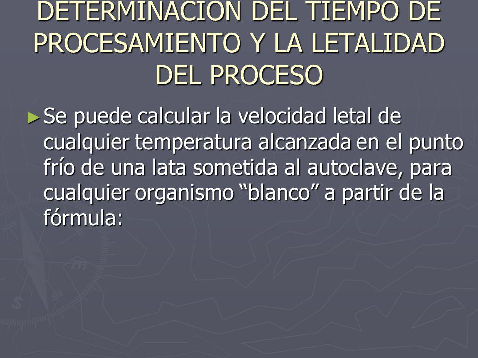 DETERMINACIÓN DEL TIEMPO DE PROCESAMIENTO Y LA LETALIDAD DEL PROCESO