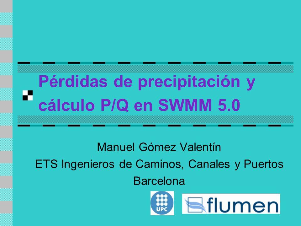 Pérdidas de precipitación y cálculo P/Q en SWMM 5.0