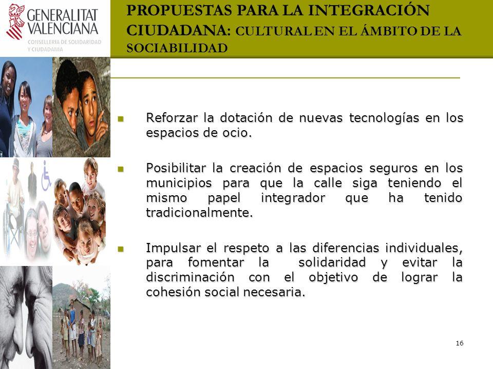 PROPUESTAS PARA LA INTEGRACIÓN CIUDADANA: CULTURAL EN EL ÁMBITO DE LA SOCIABILIDAD