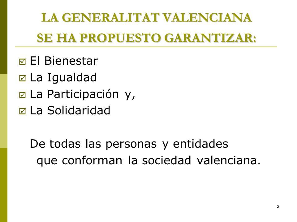 LA GENERALITAT VALENCIANA SE HA PROPUESTO GARANTIZAR: