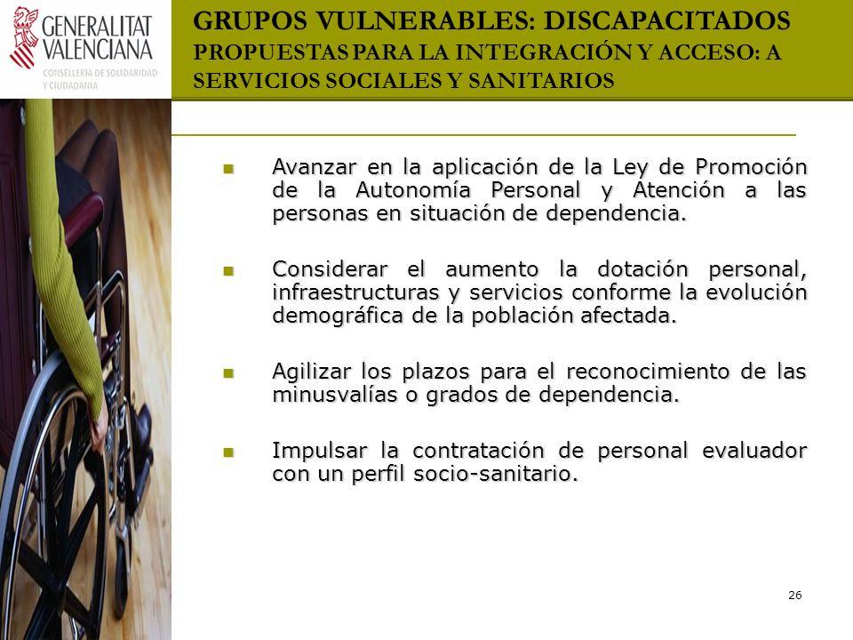 GRUPOS VULNERABLES: DISCAPACITADOS PROPUESTAS PARA LA INTEGRACIÓN Y ACCESO: A SERVICIOS SOCIALES Y SANITARIOS