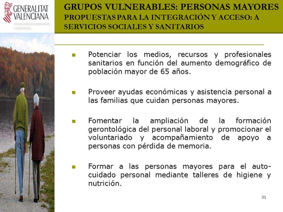 GRUPOS VULNERABLES: PERSONAS MAYORES PROPUESTAS PARA LA INTEGRACIÓN Y ACCESO: A SERVICIOS SOCIALES Y SANITARIOS