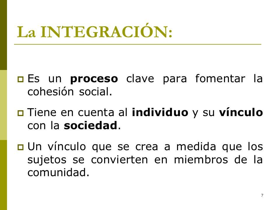 La INTEGRACIÓN: Es un proceso clave para fomentar la cohesión social.