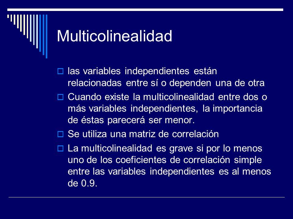 Multicolinealidad las variables independientes están relacionadas entre sí o dependen una de otra.