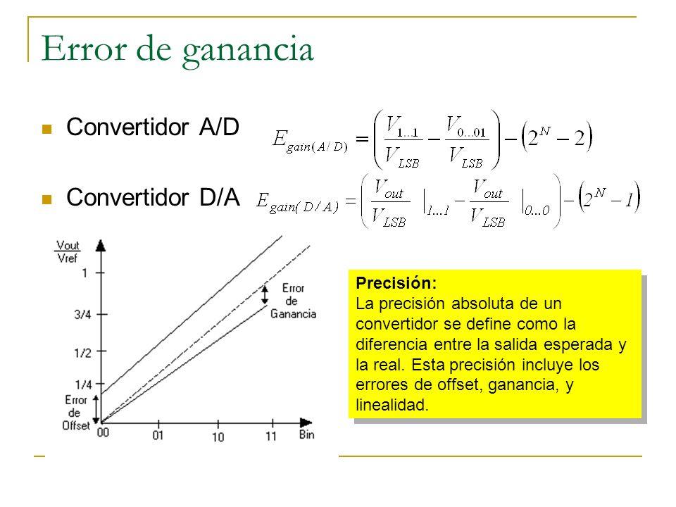 Error de ganancia Convertidor A/D Convertidor D/A Precisión:
