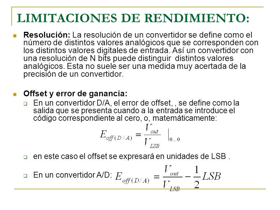 LIMITACIONES DE RENDIMIENTO: