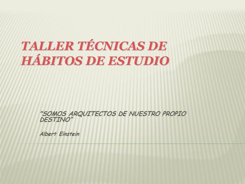 TALLER TÉCNICAS DE HÁBITOS DE ESTUDIO