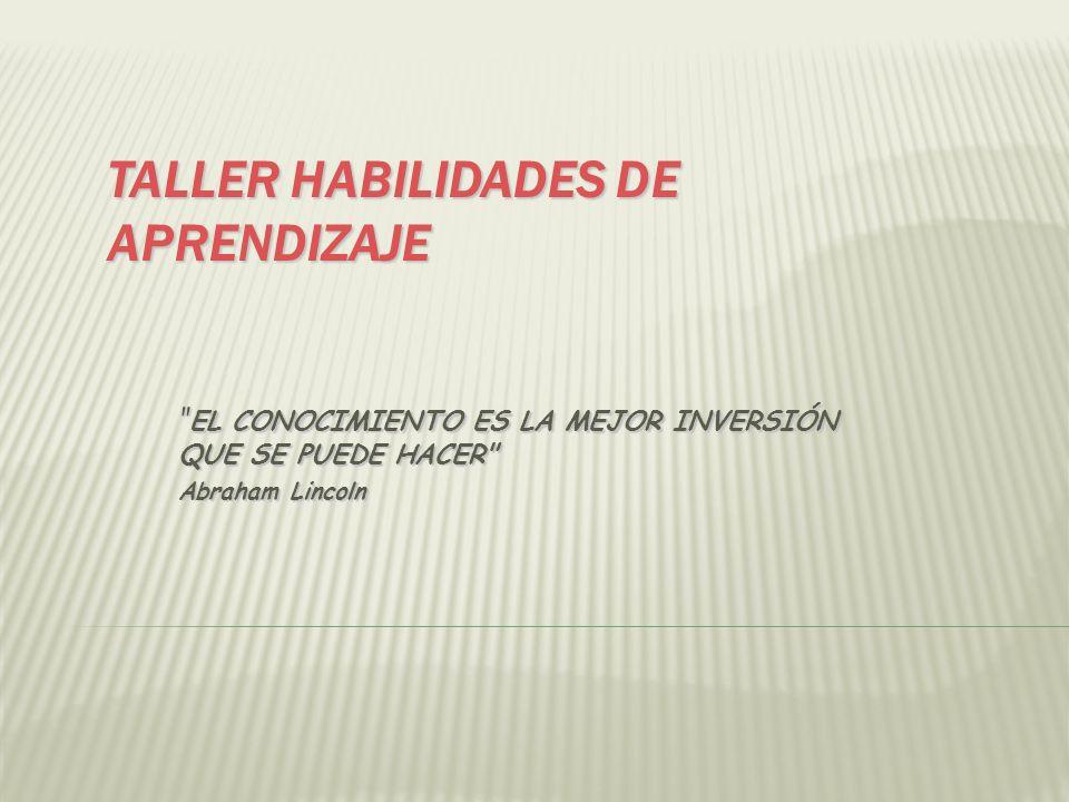 TALLER HABILIDADES DE APRENDIZAJE