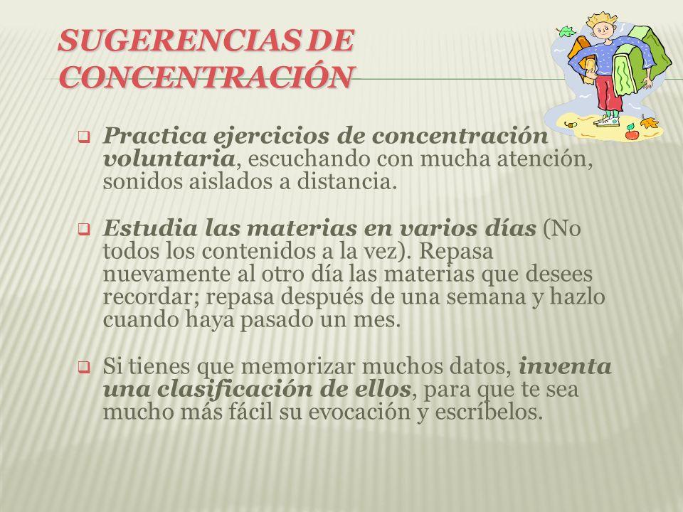 SUGERENCIAS DE CONCENTRACIÓN