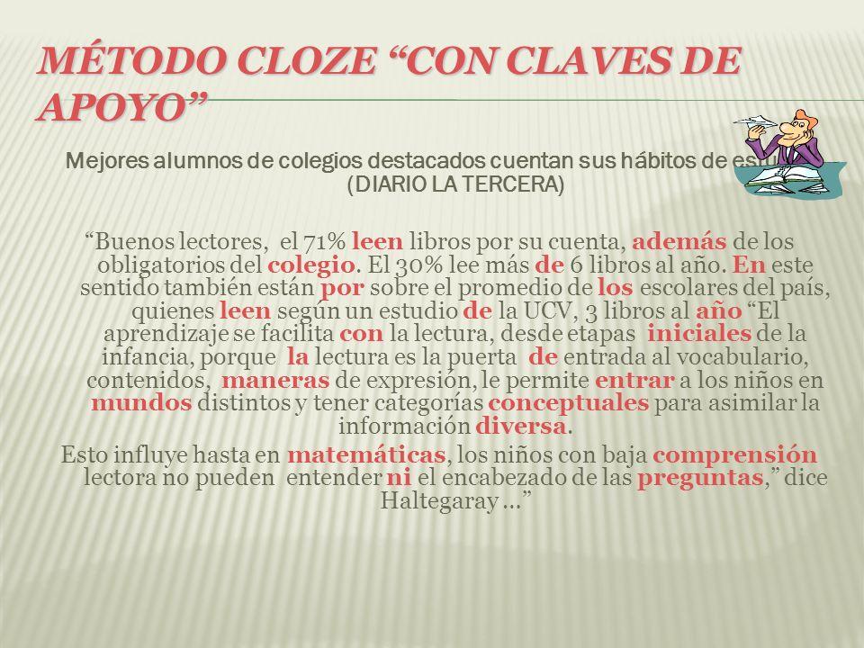 MÉTODO CLOZE CON CLAVES DE APOYO