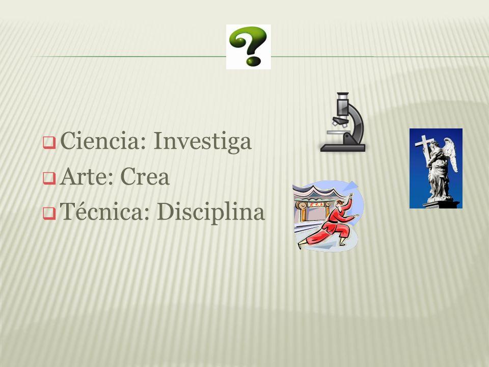Ciencia: Investiga Arte: Crea Técnica: Disciplina