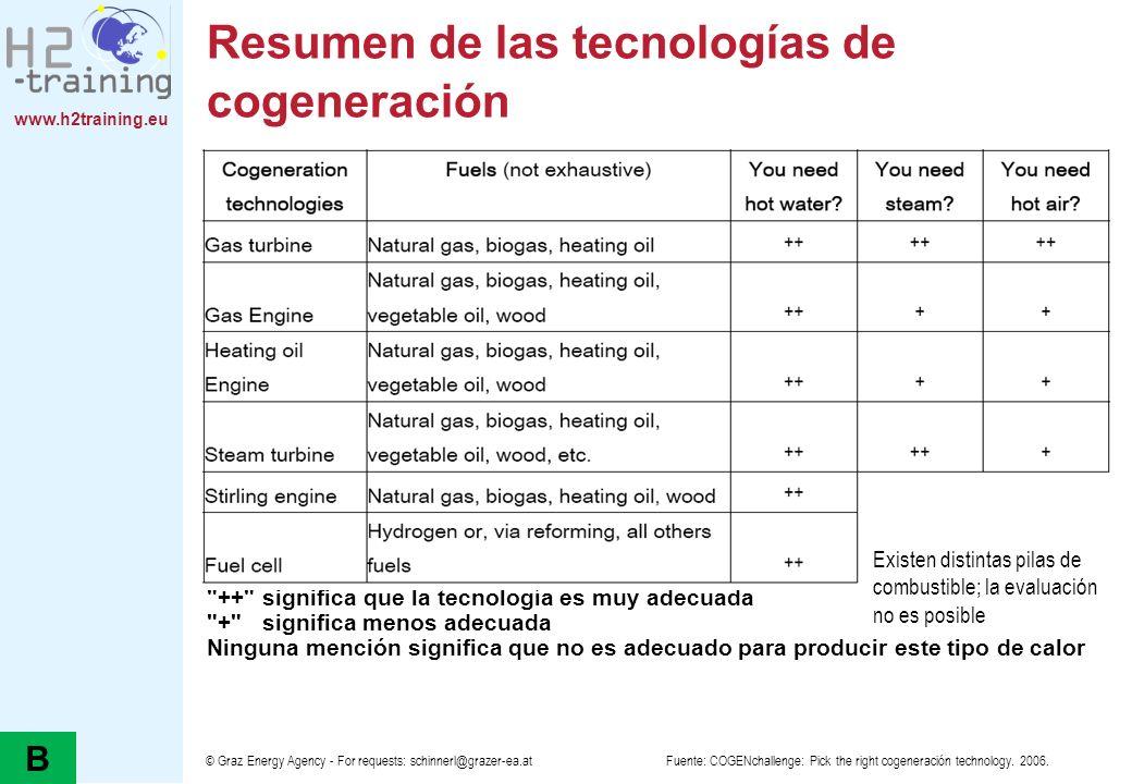 Resumen de las tecnologías de cogeneración