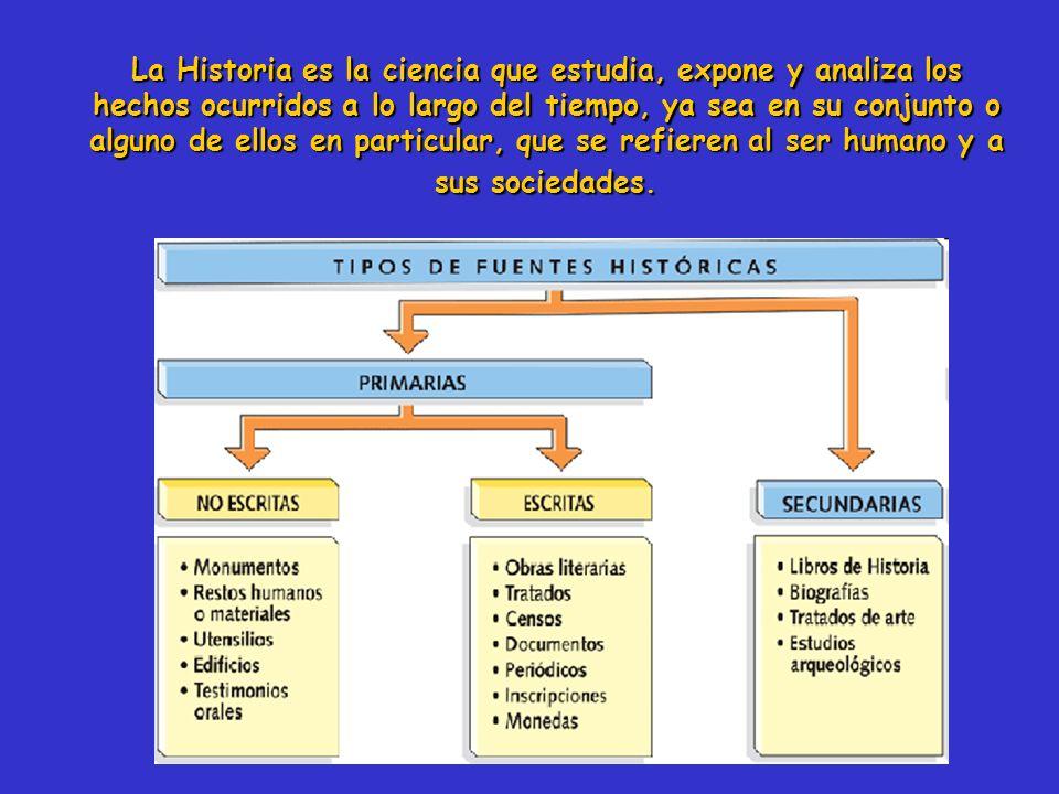 La Historia es la ciencia que estudia, expone y analiza los hechos ocurridos a lo largo del tiempo, ya sea en su conjunto o alguno de ellos en particular, que se refieren al ser humano y a sus sociedades.