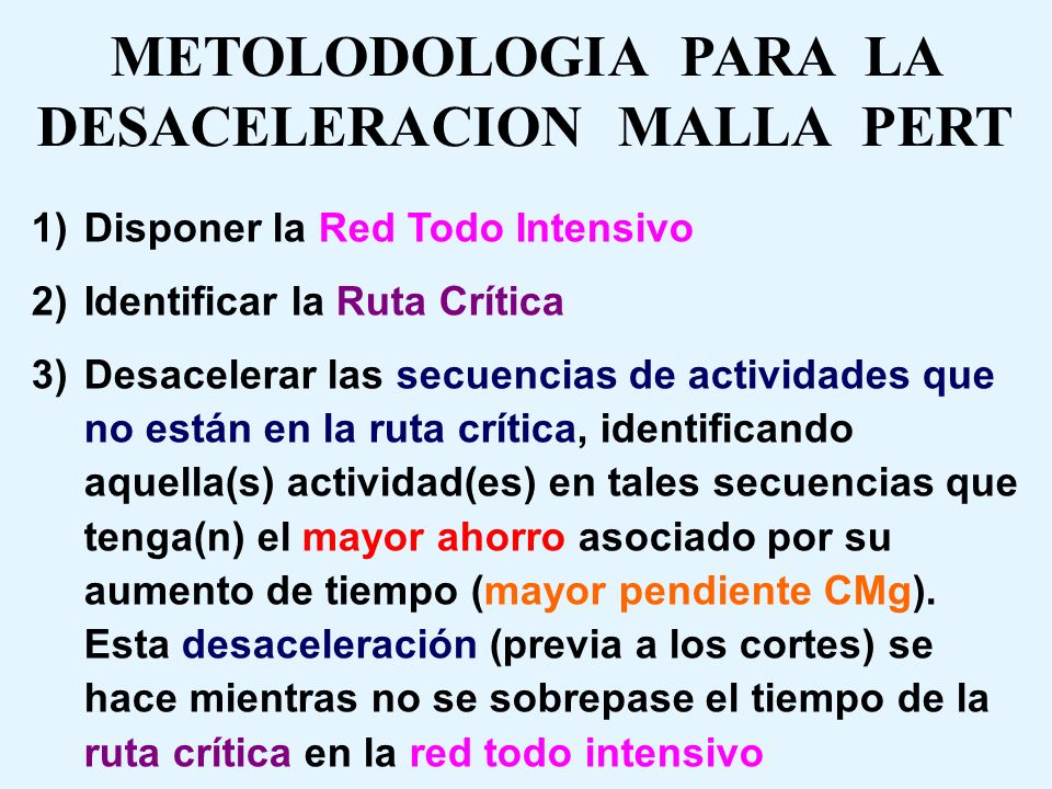 METOLODOLOGIA PARA LA DESACELERACION MALLA PERT