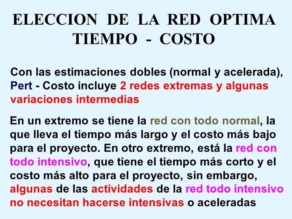 ELECCION DE LA RED OPTIMA TIEMPO - COSTO