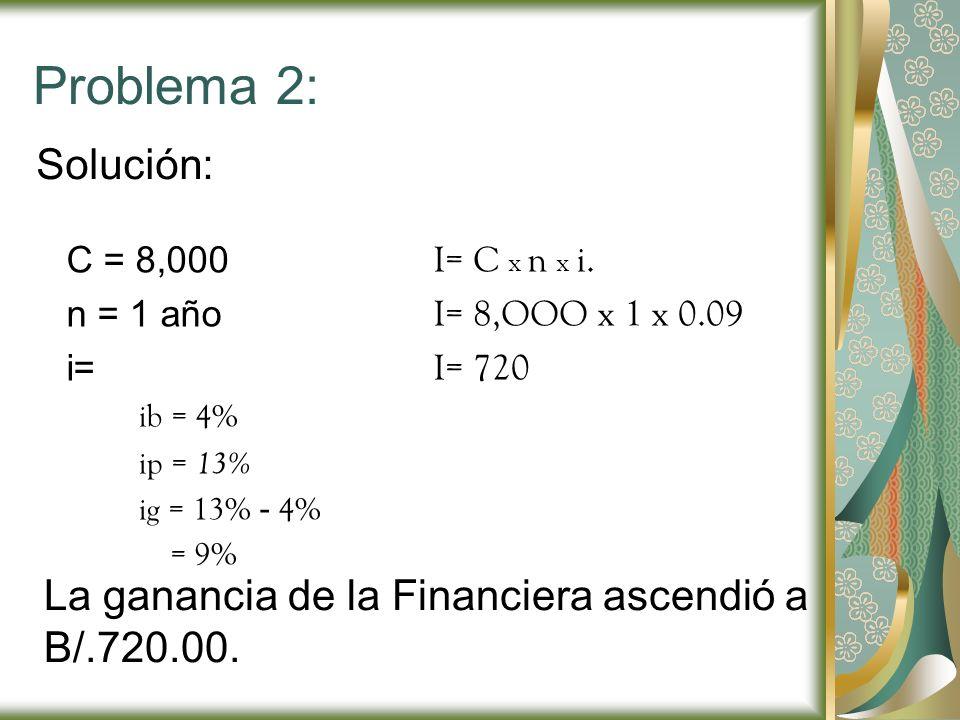 Problema 2: Solución: C = 8,000. n = 1 año. i= ib = 4% ip = 13% ig = 13% - 4% = 9% I= C x n x i.
