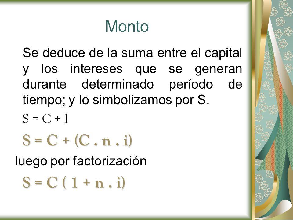 Monto S = C ( 1 + n . i) S = C + (C . n . i)