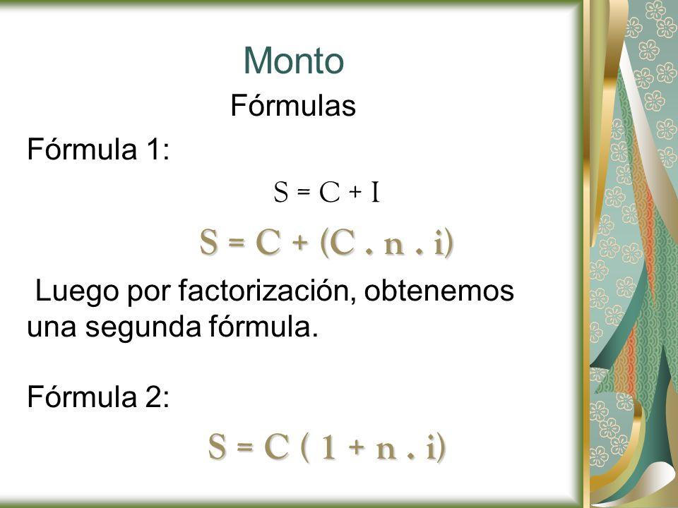 Monto S = C ( 1 + n . i) S = C + (C . n . i) Fórmulas Fórmula 1: