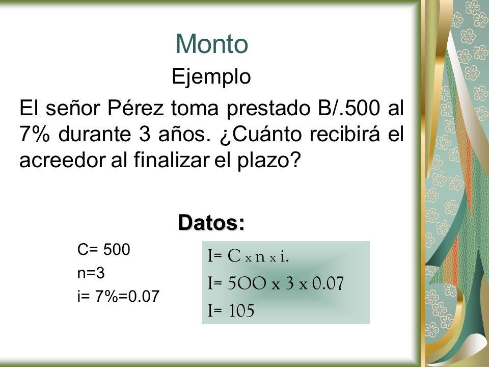 Monto Ejemplo. El señor Pérez toma prestado B/.500 al 7% durante 3 años. ¿Cuánto recibirá el acreedor al finalizar el plazo