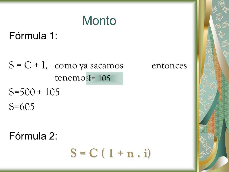Monto S = C ( 1 + n . i) Fórmula 1: