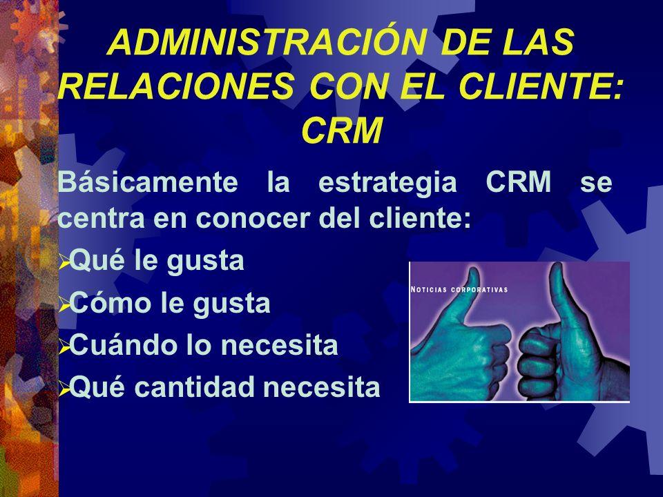 ADMINISTRACIÓN DE LAS RELACIONES CON EL CLIENTE: CRM