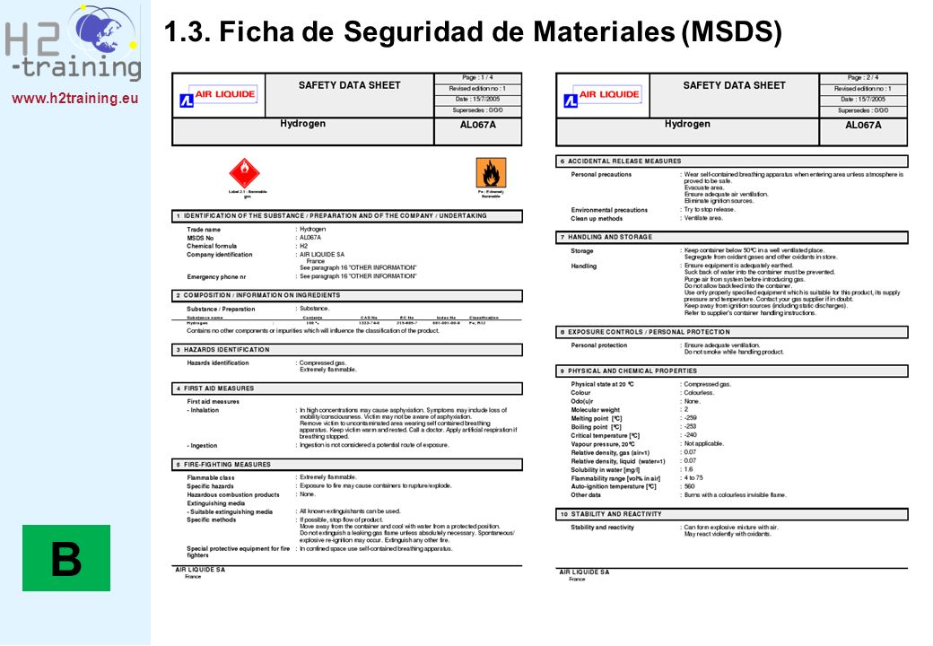 B 1.3. Ficha de Seguridad de Materiales (MSDS)