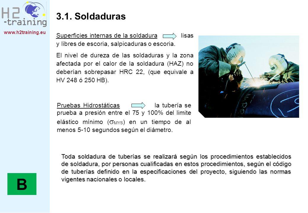 3.1. Soldaduras Superficies internas de la soldadura lisas y libres de escoria, salpicaduras o escoria.