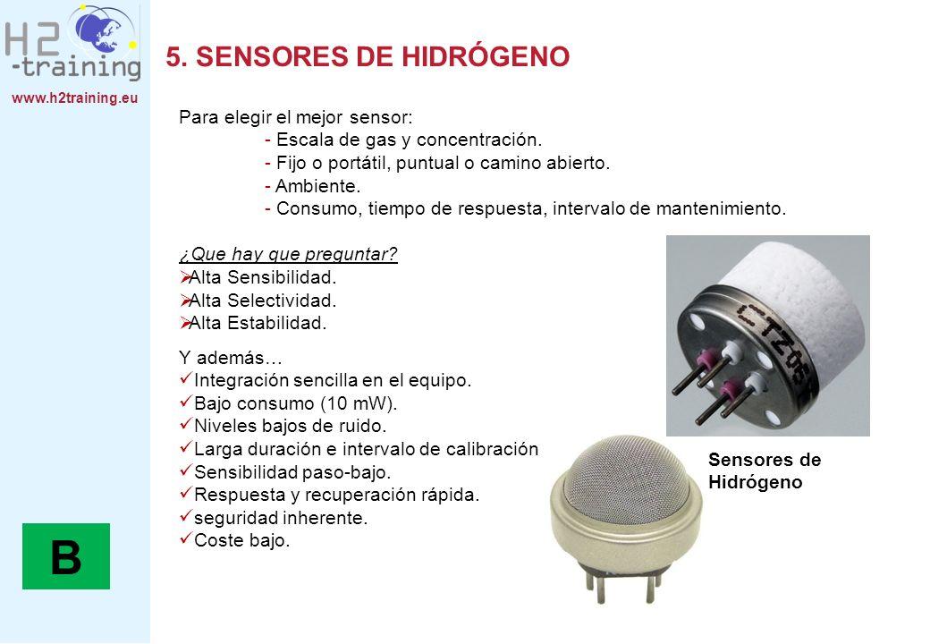 B 5. SENSORES DE HIDRÓGENO Para elegir el mejor sensor: