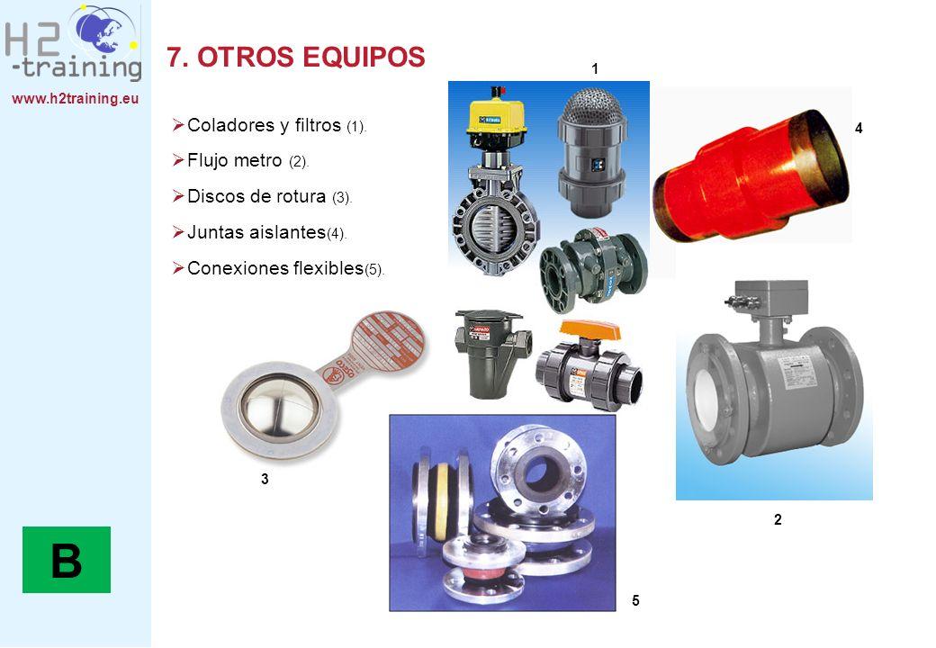 B 7. OTROS EQUIPOS Coladores y filtros (1). Flujo metro (2).