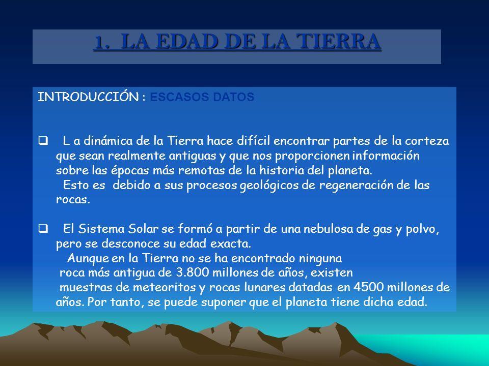 1. LA EDAD DE LA TIERRA INTRODUCCIÓN : ESCASOS DATOS