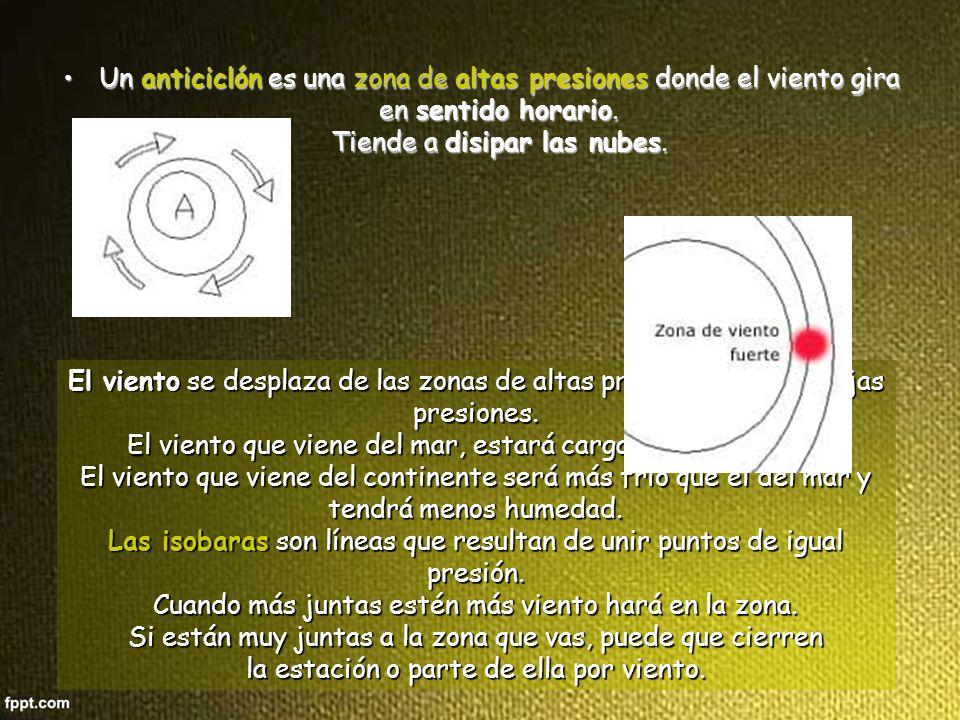 Las isobaras son líneas que resultan de unir puntos de igual presión.