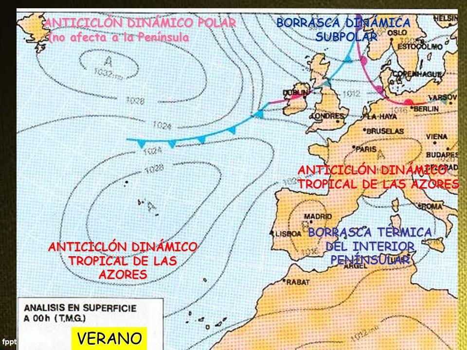 DEL INTERIOR PENÍNSULAR ANTICICLÓN DINÁMICO TROPICAL DE LAS AZORES