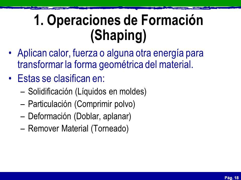 1. Operaciones de Formación (Shaping)