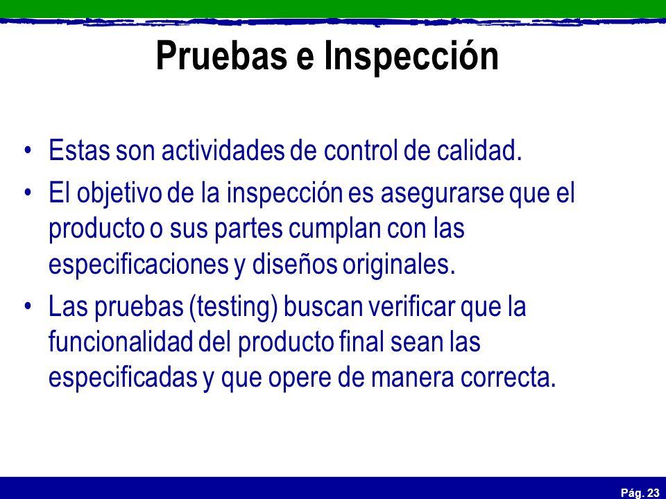 Pruebas e Inspección Estas son actividades de control de calidad.