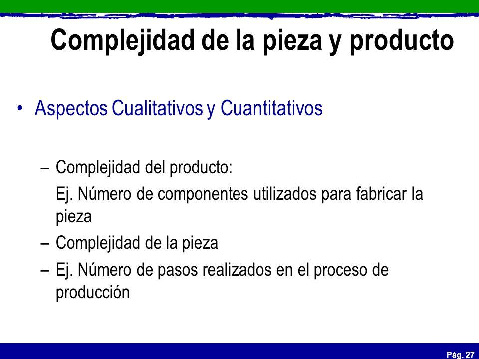 Complejidad de la pieza y producto