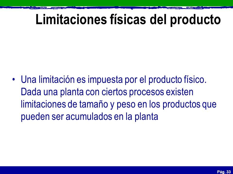 Limitaciones físicas del producto