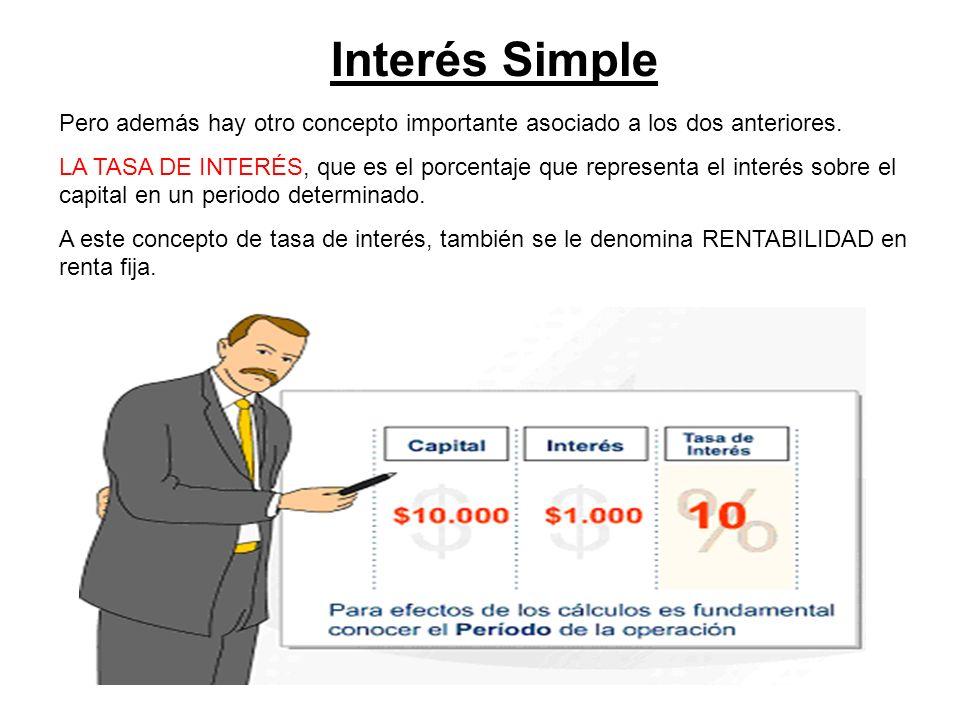 Interés Simple Pero además hay otro concepto importante asociado a los dos anteriores.
