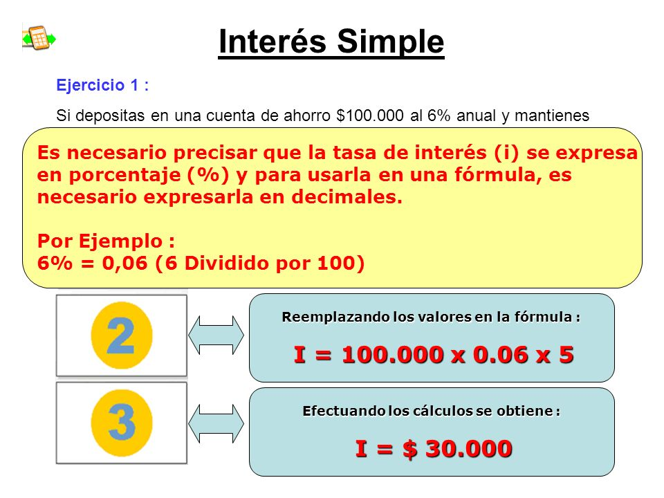 Interés Simple I = C x i x n