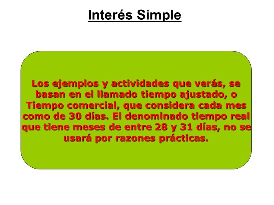 Interés Simple Los ejemplos y actividades que verás, se
