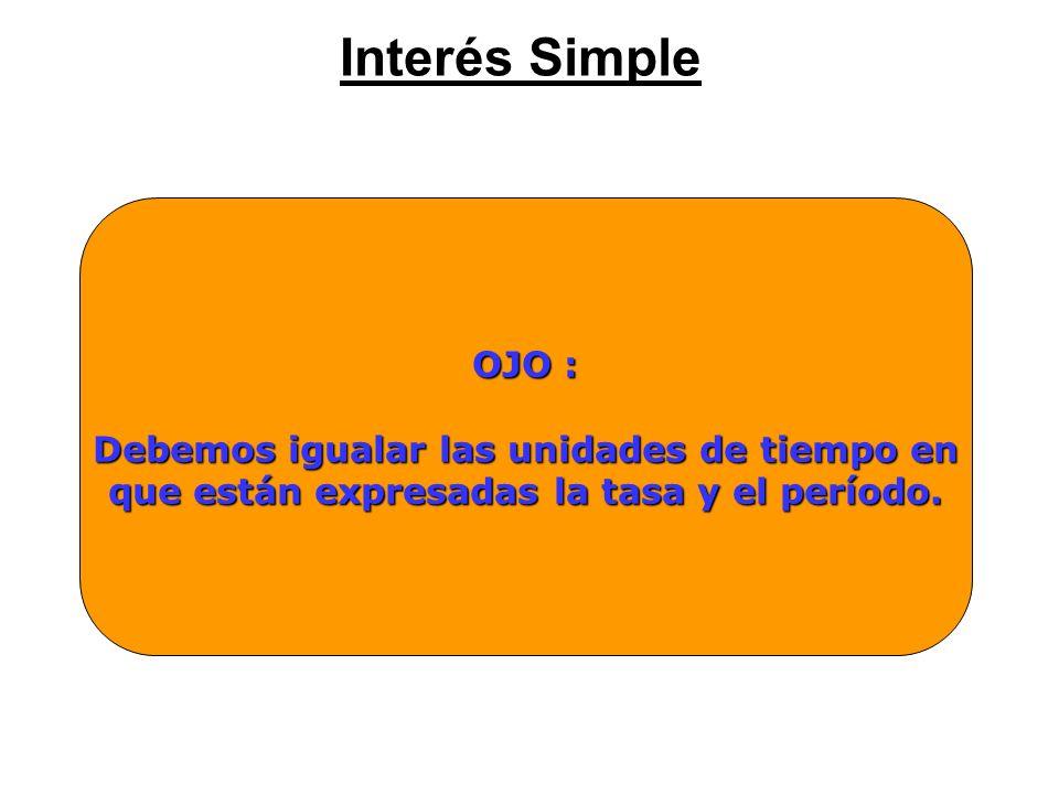 Interés Simple OJO : Debemos igualar las unidades de tiempo en