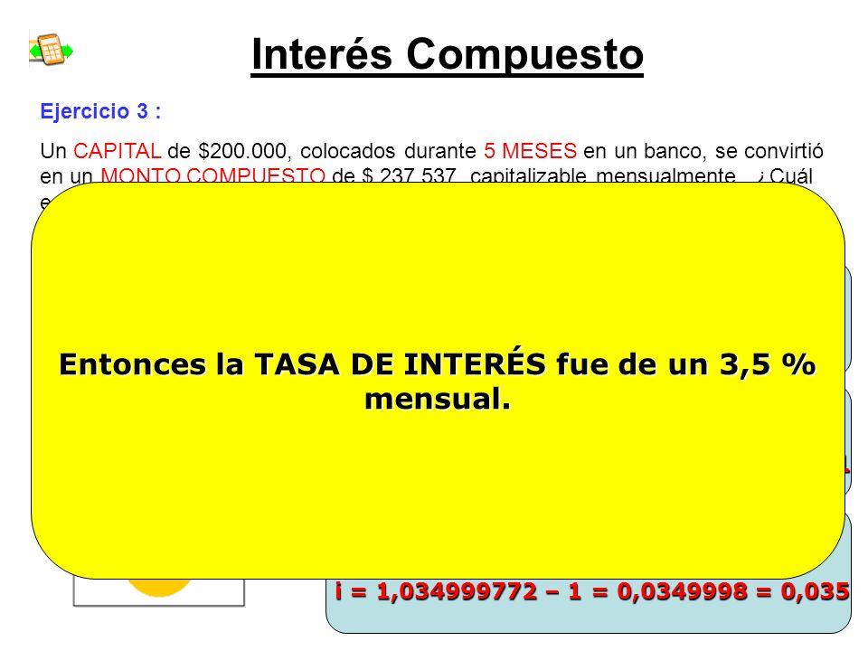 Interés Compuesto Entonces la TASA DE INTERÉS fue de un 3,5 % mensual.