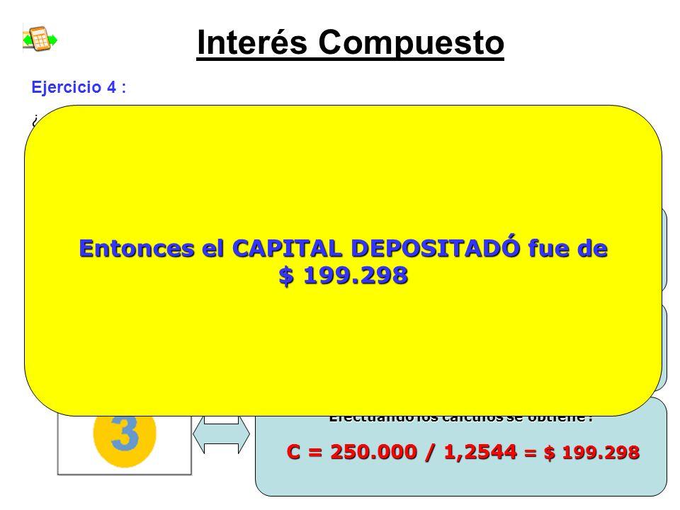Interés Compuesto Entonces el CAPITAL DEPOSITADÓ fue de $ 199.298