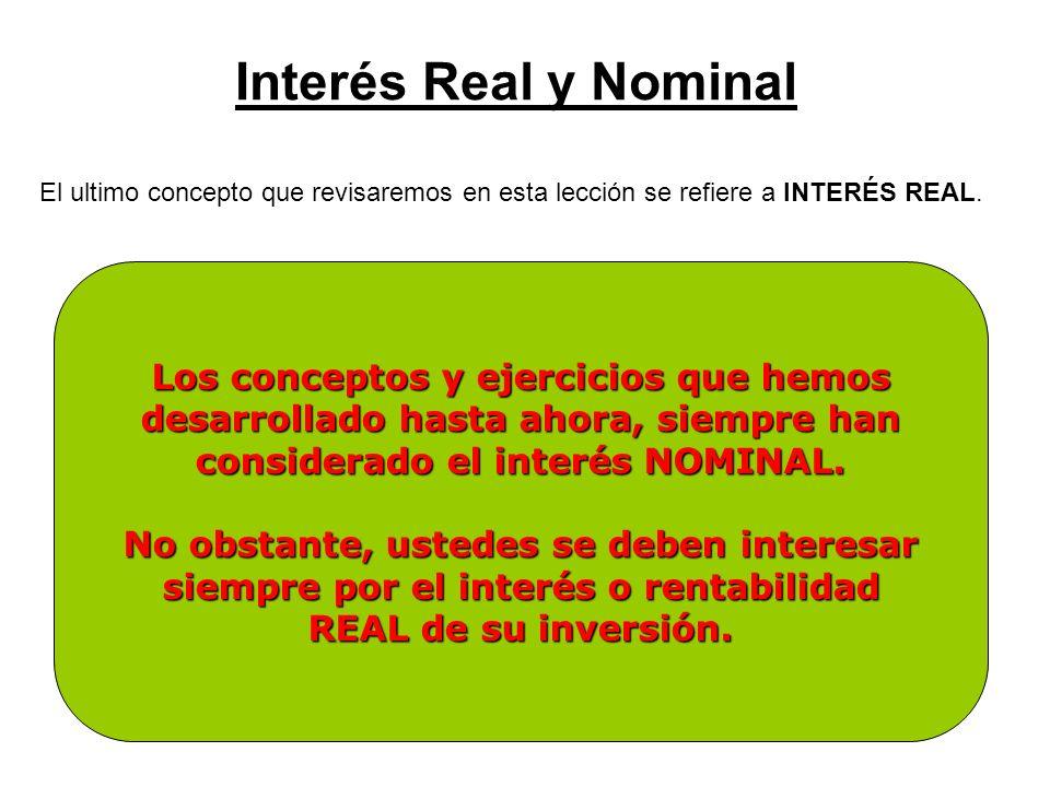 Interés Real y Nominal Los conceptos y ejercicios que hemos